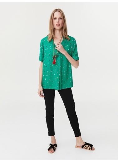 Ipekyol Double Kol Gömlek Yaka Bluz Yeşil